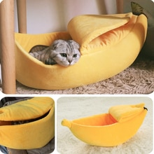 Casa de Cama de Gato plátano acogedor Cute Banana Puppy Cushion perrera caliente portátil para mascotas cesta suministros estera camas para gatos y gatitos