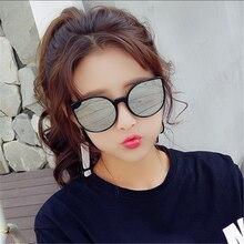 Vintage Round Cat Eye Sunglasses Women Brand Eyeglasses Retro Female Coating Mirror Sun Glasses Driv