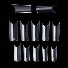 Kit de sistema de uñas de 100 piezas con puntas de uñas transparentes de plástico con forma de C