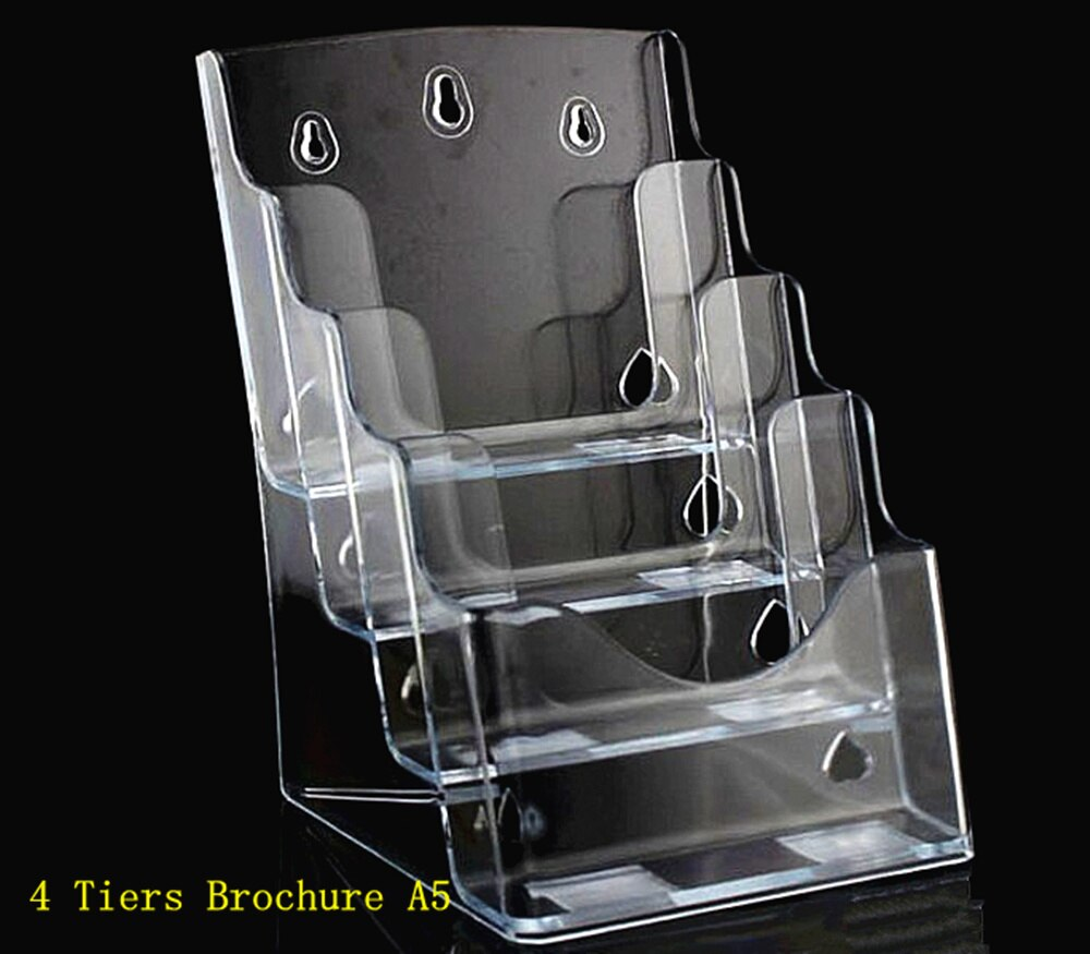 Clear A5 4 Tiers Plastic Acrylic Brochure Literature Pamphlet Display Holder Racks Stand To Insert Leaflet 20pcs