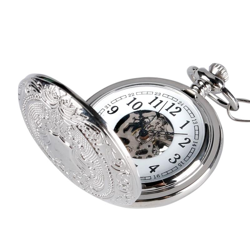 الرجعية الفضة الهيكل العظمي Steampunk اليد الرياح الميكانيكية ساعة جيب ذات سلسلة للرجال النساء relojes دي bolsillo
