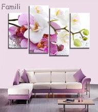 Affiche murale orchidées roses avec affiche   Toile imprimée, peinture à lhuile, images modulaires sur le mur, salon, sans cadre, 4 pièces