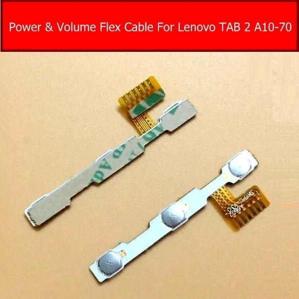 Genuine Power & volume Flex cable Para Lenovo Tab 2 A10-70 lado do conector De Controle De Áudio Botão Interruptor de chave Connector flex cabo