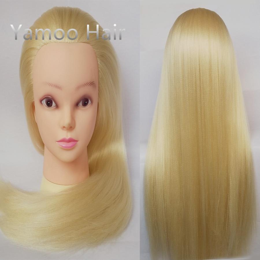 Rubio Yaki color Hiardressing formación pelo cabeza de Maniquí de moda femenina 68cm sintético de calor de fibra de maniquíes para estilismo del cabello