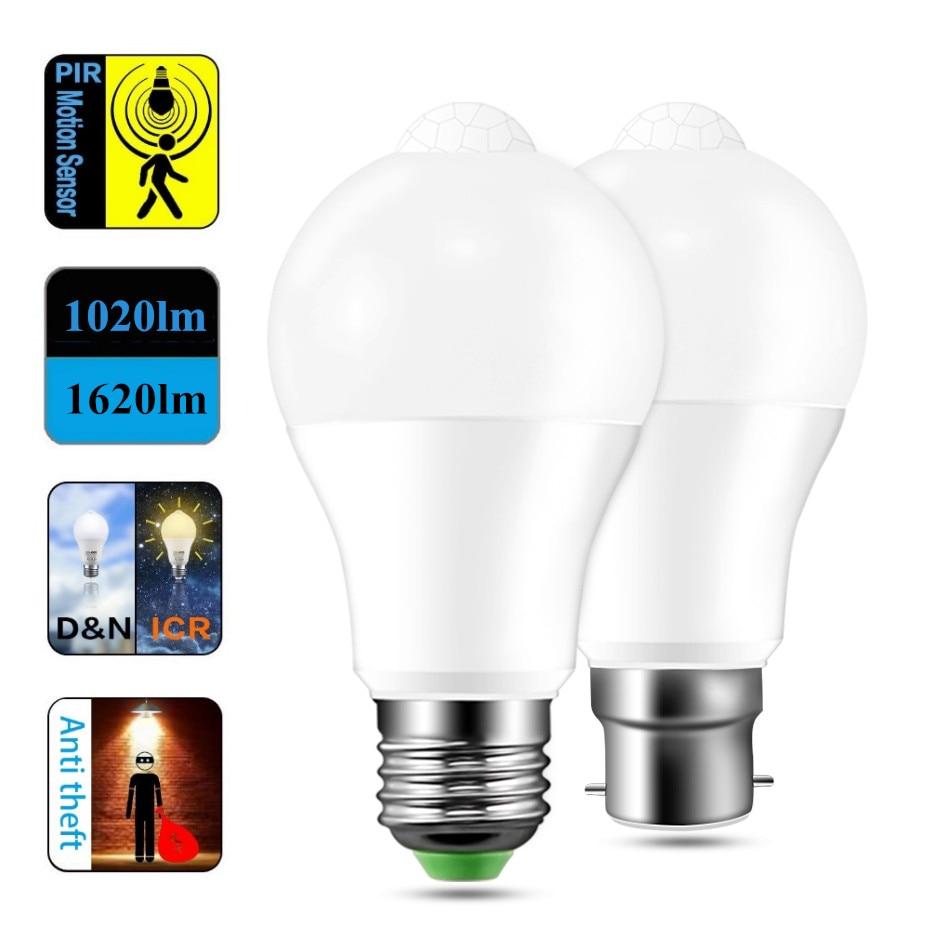 PIR Motion Sensor LED Bulb E27 12W 18W AC85-265V B22 Led Light Bulb IP42 Auto ON/OFF Motion Sensor L
