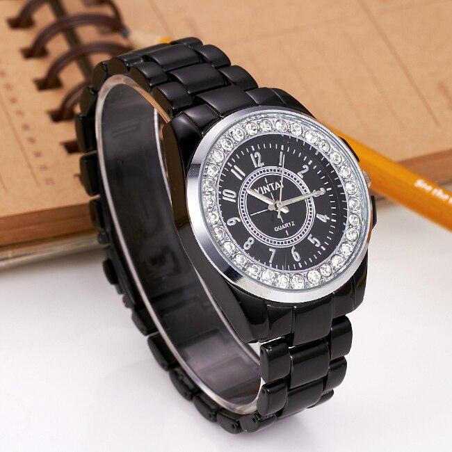 Reloj de lujo estilo coreano esfera redonda de cristal de moda reloj de pulsera de cuarzo negro y blanco reloj pulsera aleación Unisex masculino relojes