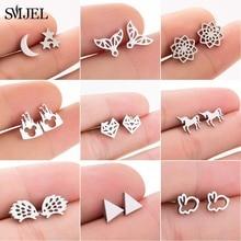 SMJEL Stainless Steel Cute Unicorn Stud Earrings for Women Girls Minimalist Rabbit Mermaid Fox Earin