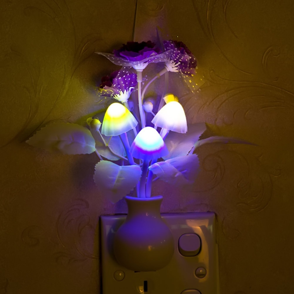 10 unids/lote enchufe estadounidense romántico colorido flor luz nocturna Sensor Control Lila hongo LED bebé noche lámpara hogar dormitorio Decoración