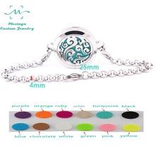 10 pièces mesinya océan tourbillon (25mm) aromathérapie/huile essentielle chirurgicale en acier inoxydable diffuseur médaillon bracelet 7.5 poignet
