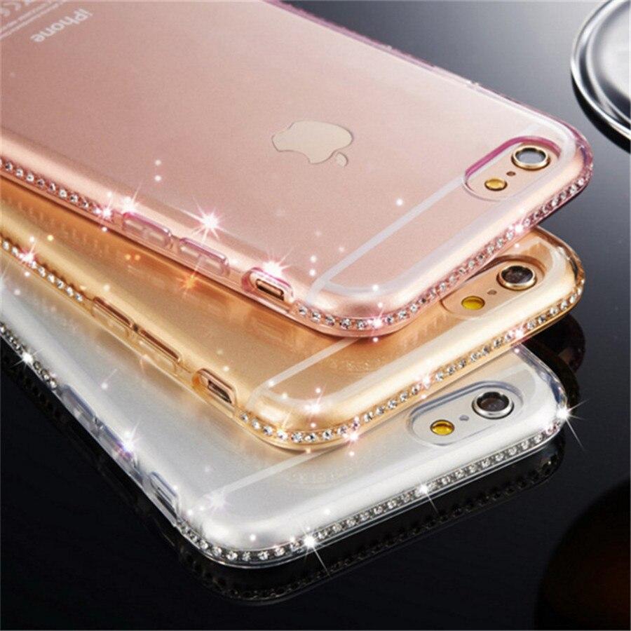 Funda de diamante de cristal de lujo para Huawei P8 P9 P20 Lite Pro, funda para iPhone X XR XS Max 5S 6 6S 7 8 Plus, funda, bonita funda con purpurina