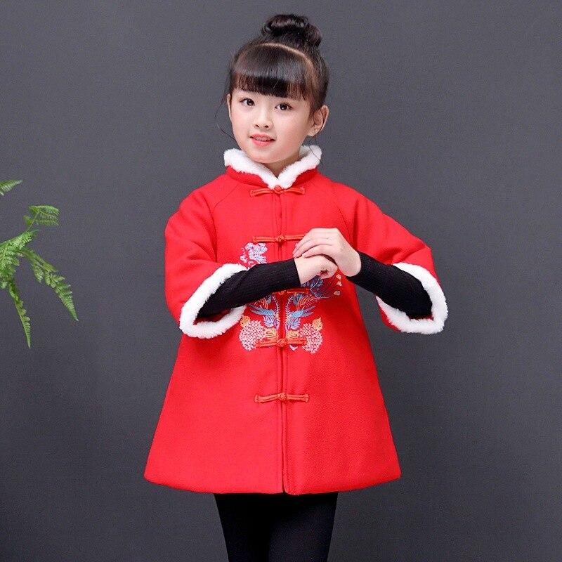 2019 niñas traje de invierno thicken ropa de Año Nuevo niños de estilo chino embroidey cheongsam abrigo de vestir de lana para niños