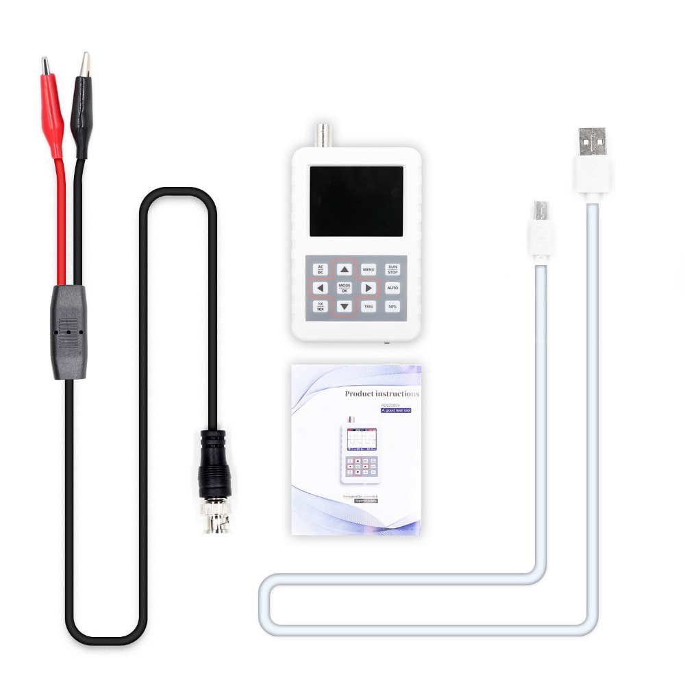 Mini osciloscopio Digital con pantalla de Color de 2,4 pulgadas osciloscopio de mano con Cable USB de ancho de banda de 5MHz y sonda para osciloscopio