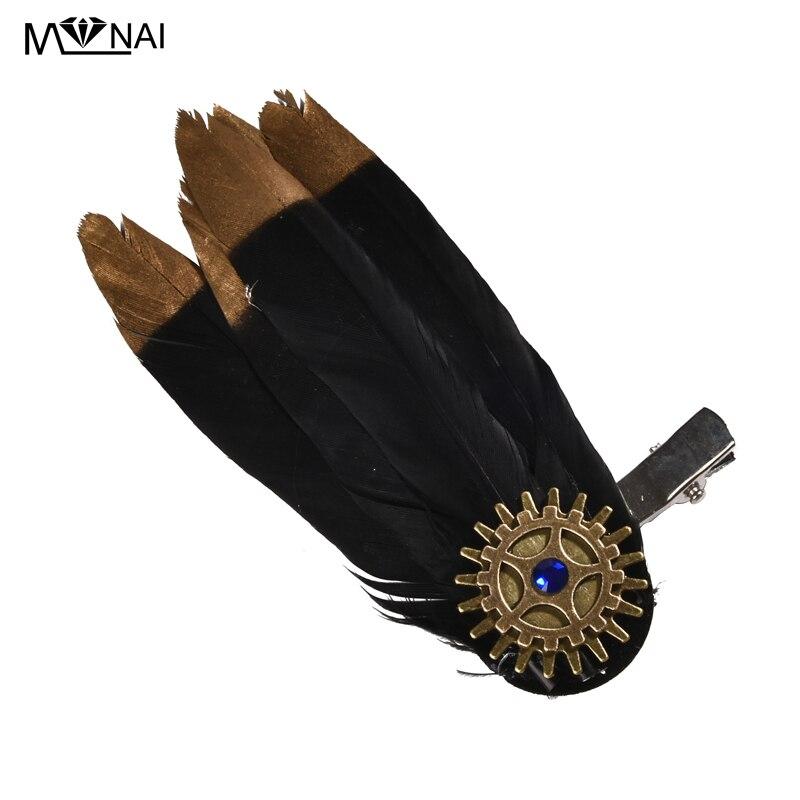 Steam Punk Clock Cogs Feather Hair-Clip Gothic Retro Gear Crystal Barrette Vintage Lolita Feathers Headpiece Handmade