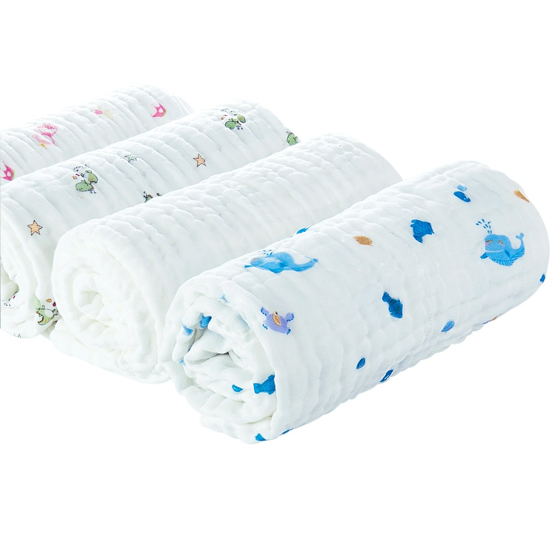 Toalla de baño impresa para recién nacido de otoño envoltura de 6 capas Super suave transpirable muselina manta de bebé