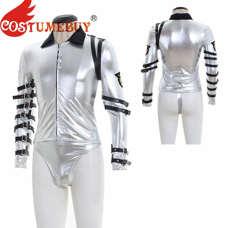 Costumebuy para michael jackson punk mj clássico mau tour cosplay prata bodysuit jaqueta outerwear trajes de festa feito sob encomenda