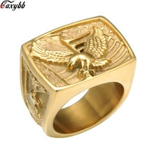 Livraison directe Punk Biker Hawk anneau hommes or argent couleur titane acier inoxydable aigle anneaux pour hommes bijoux