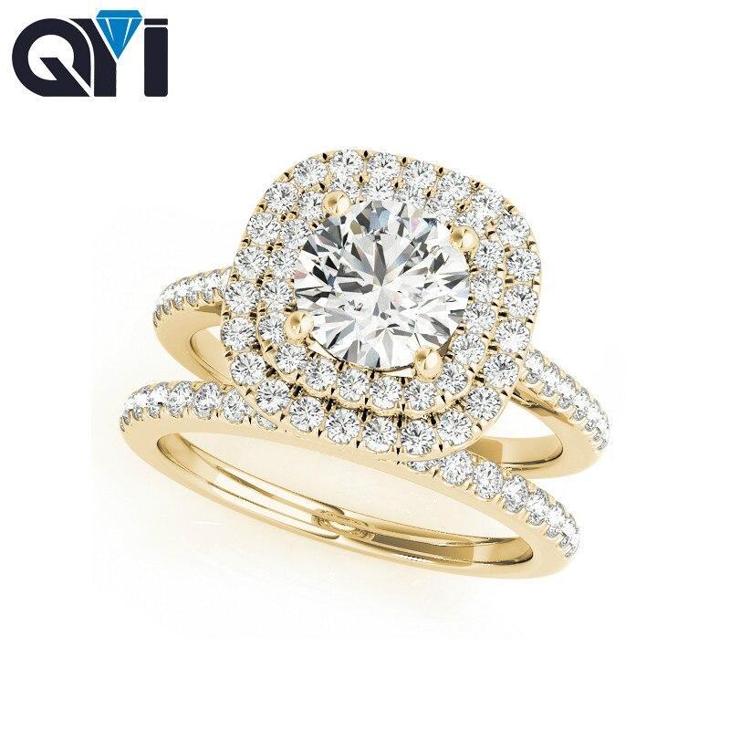 QYI 14K oro amarillo sólido doble Halo anillo de compromiso conjuntos corte redondo 1ct diamante simulado joyería nupcial mujeres boda anillo