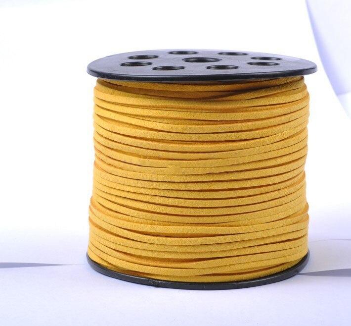 100 yardas/rollo de cordón de cuero de terciopelo de imitación amarillo dorado + DIY joyería pulsera collar cuerda accesorios de joyería 3mm X 2mm
