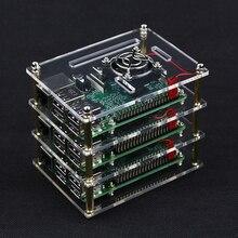 3 couches framboise Pi 4 B boîte de boîtier en acrylique Transparent + 3 x ventilateur de refroidissement + couvercle de Protection pour framboise Pi 2/3 modèle B +