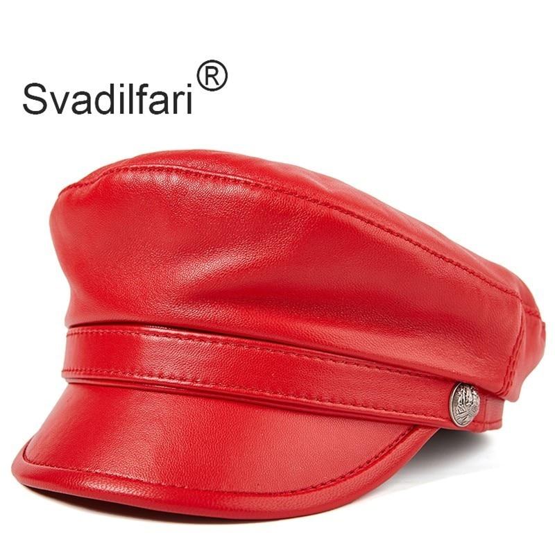 Svadilfari-قبعة عسكرية من جلد الغنم للرجال والنساء ، قبعة مسطحة ، جلد البقر ، ماركات الأزياء ، الجيش ، الخريف