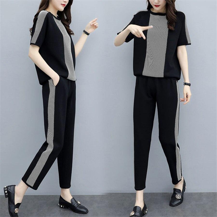 Conjunto de 2 piezas de chándal para mujer, sudadera de manga corta con cuello redondo y pantalones, traje deportivo para mujer