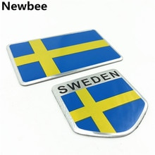 Aluminium Zweden Nationale Vlag Embleem Badge 3D Auto Sticker Voor Volvo V70 XC60 S60 V60 V40 Vw Golf Passat toyota Auris Kia