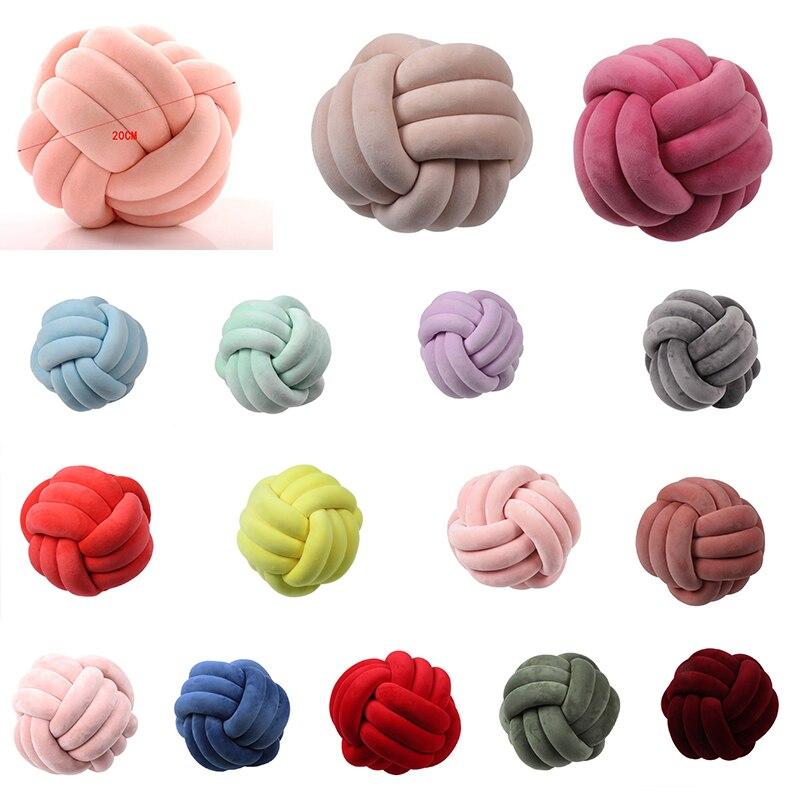 Coussins en boules à nœud doux   Oreiller en peluche, pour lit, décoration de maison, coussin en peluche, coussin noué