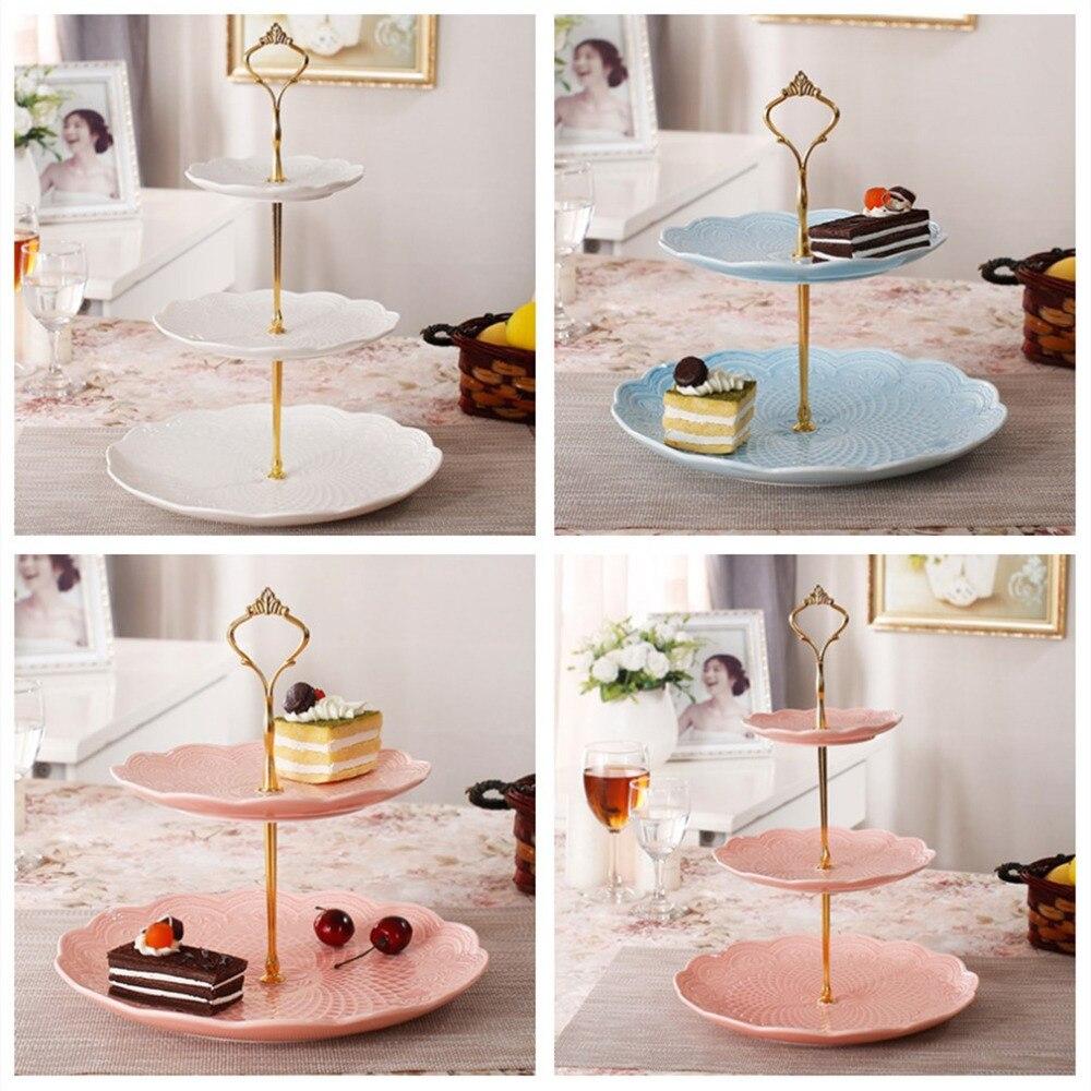 2018 nueva corona de Oro 3/2 niveles plato tarta fruta soporte de mango accesorio varilla placa soporte herramientas de decoración de pasteles