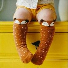 Милые носки унисекс с рисунком лисы для детей, 1 пара, носки до колена для маленьких мальчиков и девочек, мягкие хлопковые носки с рисунками животных для детей 0-3 лет