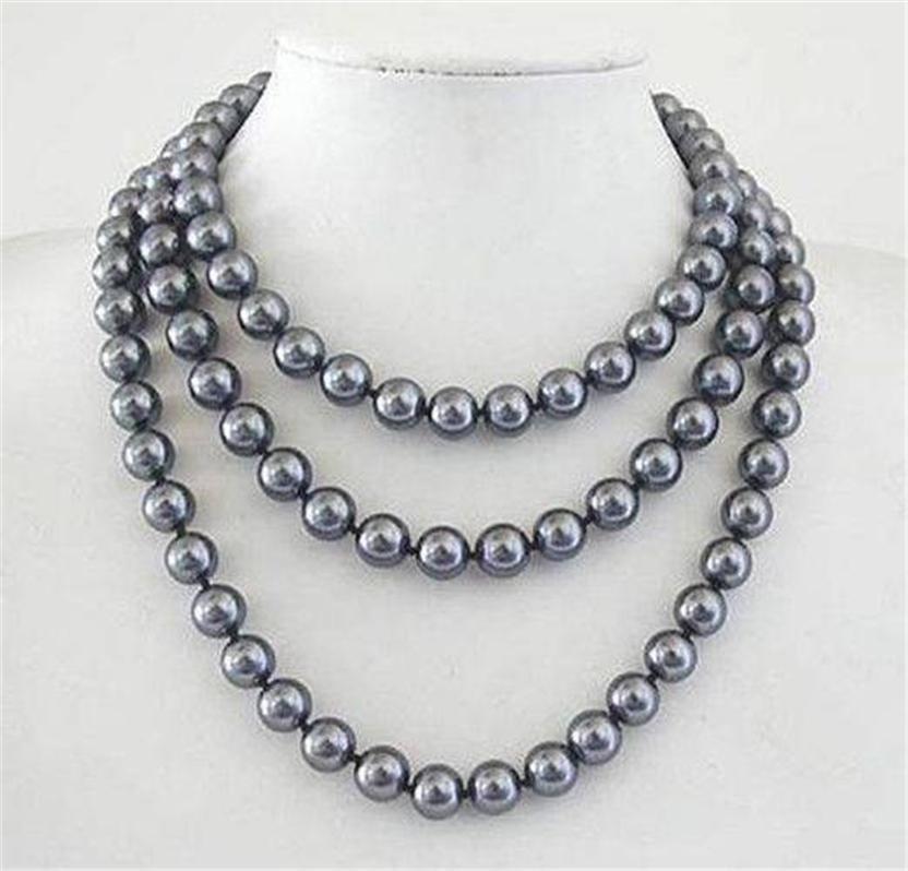 "Prett encantadora boda de mujer XF546 envío gratis> Joyería de moda 10mm Mar del Sur gris Shell collar de perlas 50 ""AAA"