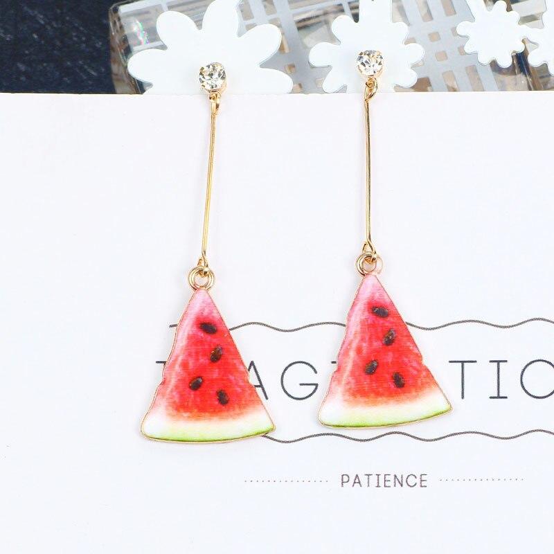 Женские серьги-клипсы с фруктовым арбузом и клубникой, милый пищевой кулон без отверстия для ушей, подарок