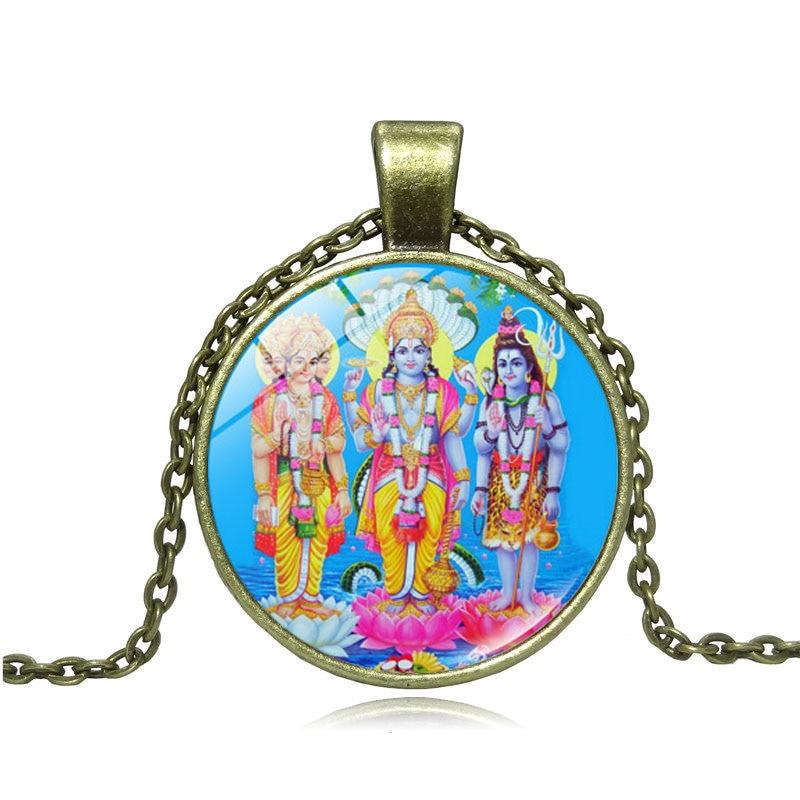 XUSHUI XJ indio dios hindú joyería Señor Vishnu/Brahma/Shiva cabujón colgante de vidrio collar de cadena mujeres hombres budismo regalo