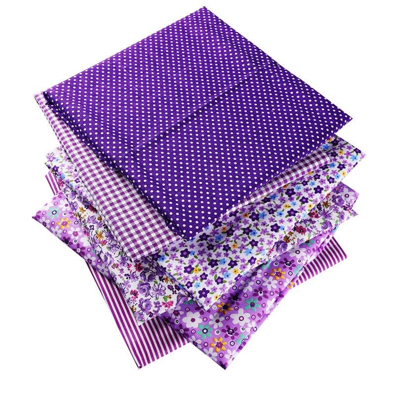 Фиолетовый 50X50cm 100% хлопок цветы Полосатый плед ткань в горошек для куклы Лоскутная одежда шитье Рукоделие Декор 53129