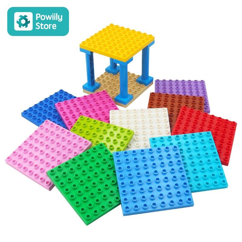Bloques de construcción compatibles con Duplo niños juguetes de bricolaje ABS juguetes de construcción de plástico bloques de ladrillos partes 8x8 aprendizaje educativo