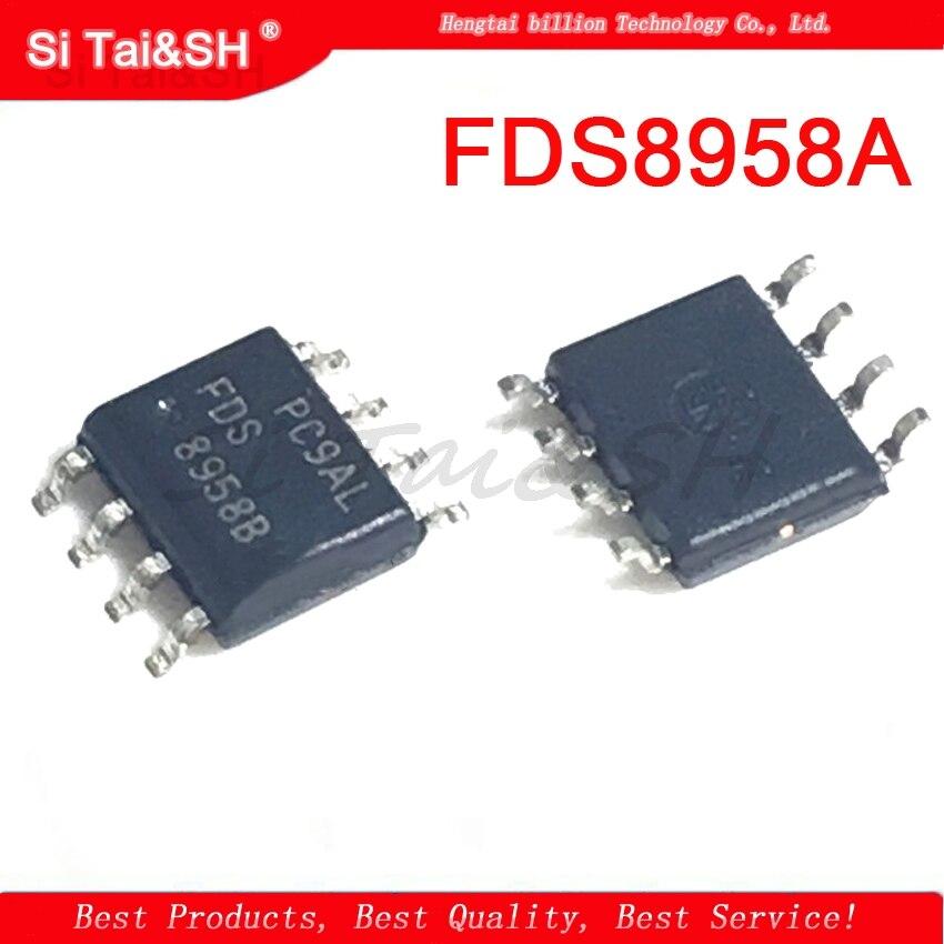 10 peças fds8958a sop8 fds8958 8958a mosfet so8 comp N-P-CH t/r novo original