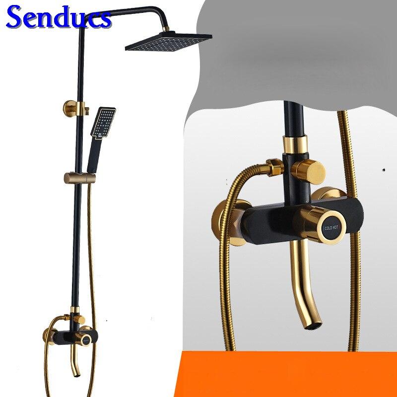 Senducs-مجموعة دش ألومنيوم فاخرة ، نظام دش مثبت على الحائط ، أسود وذهبي ، عرض خاص
