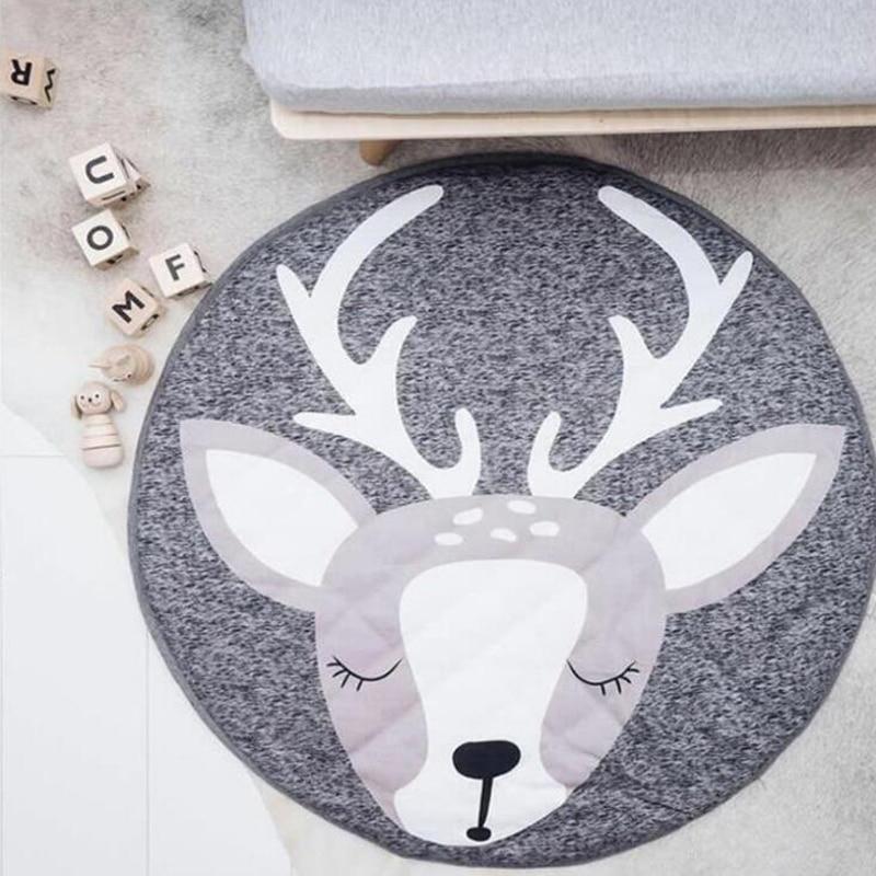90cm Cartoon Animals Baby Play Mats Pad Toddler Kids Crawling Blanket Round Carpet Rug Toys Mat For Children Room Decor Photo Pr