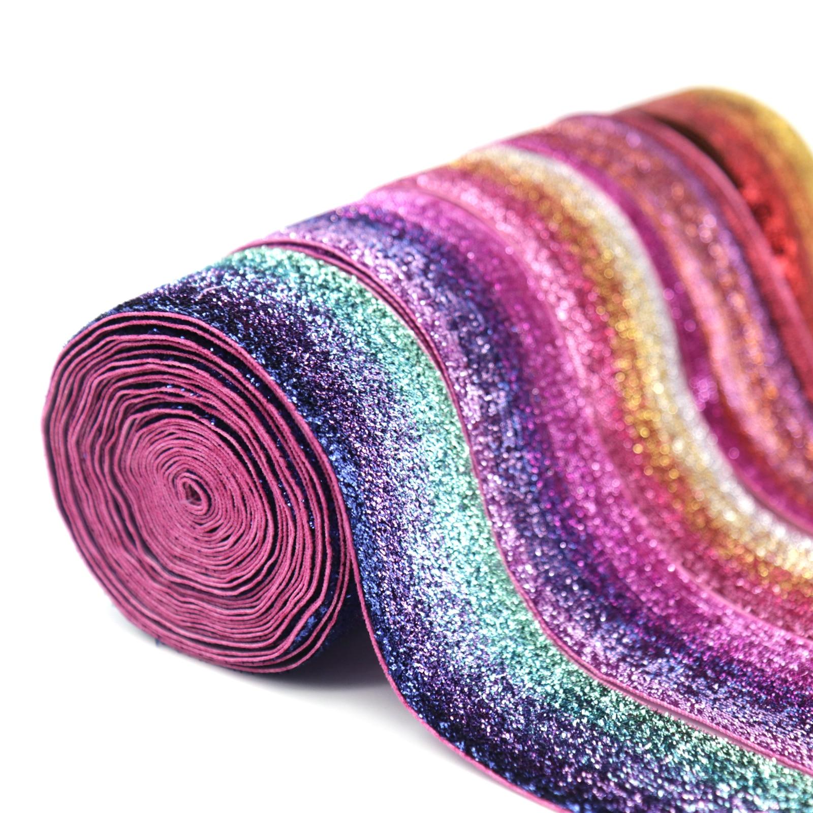 1pc 5Yard 38mm Glitter Velvet Ribbon Wedding Christmas Decoration Colorful Rainbow Gift Box Ribbon DIY Sewing Fabrics Supplies