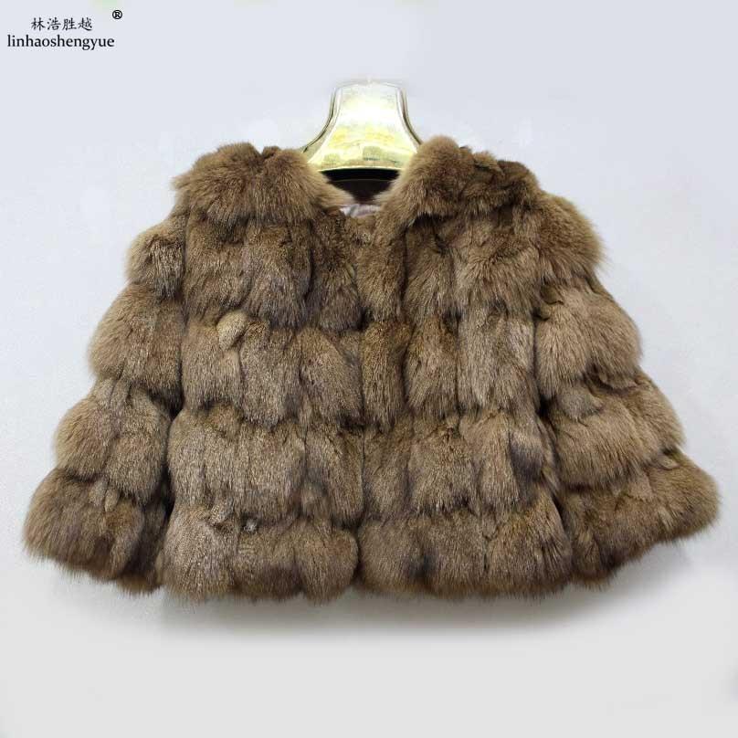 Linhaoshengyue real Fox fur manga corta abrigo