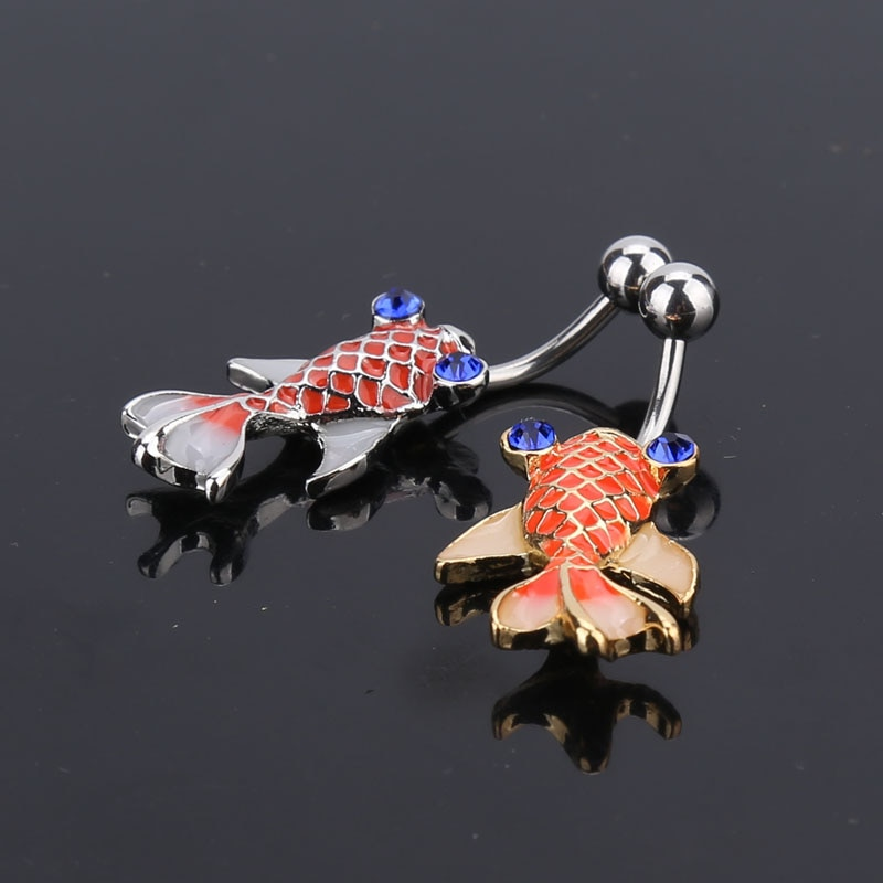 New Fashion Brand Stainless Steel Style Belly Button Ring Body Piercing Jewelry Navel Goldfish Belly Piercing Earrings