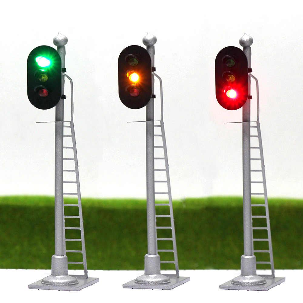 3 Stücke Modell Eisenbahn Zug Signale Rot Gelb Grün Block Signal Ho Skala 6 5 Cm Verkehrs Licht Silber Post Mit Leiter Jtd873gyr Model Building Kits Aliexpress