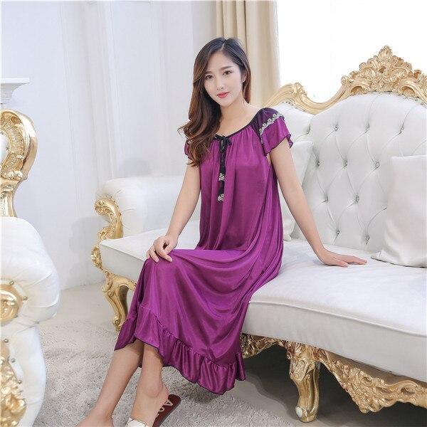 2019 Hot Lace Silk Mulheres Pijamas Ladies Sexy Lingerie Longo Babydoll Nightdress Sleepdress Camisola Homewear 4 Cores 3 Tamanho