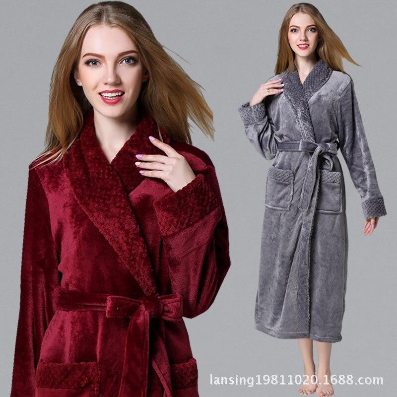 Ladies Long Bathrobe For Women Flannel Bath Robe Dressing Gown Winter Solid Robe Sleepwear Pajama Nightdress Free Shipping
