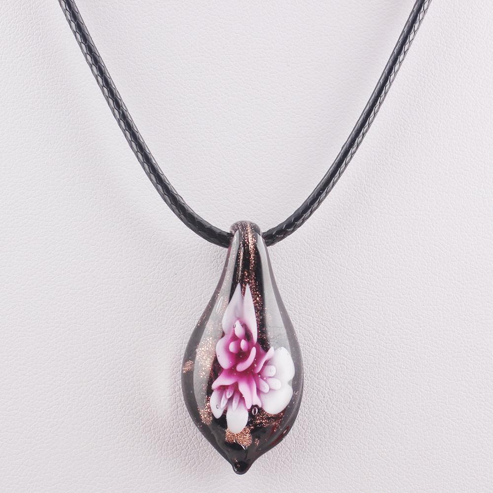 Модное ожерелье с цветами, современный стиль, кулон из венецианского стекла в форме капли воды, женская кожаная цепочка, ожерелье FEAL N414
