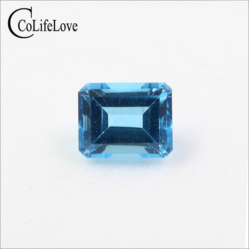 100% Topacio de luz azul natural Real para joyería DIY 8mm * 10mm Esmeralda corte Topacio piedra preciosa suelta