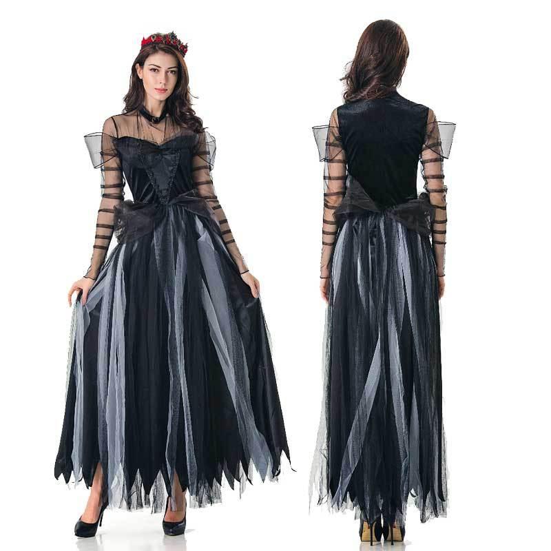 Cosplay de bruja disfraz aterrador fantasma novia Halloween disfraz Sexy encaje mujeres vestido suave vampiro bruja disfraz carnaval bruxa