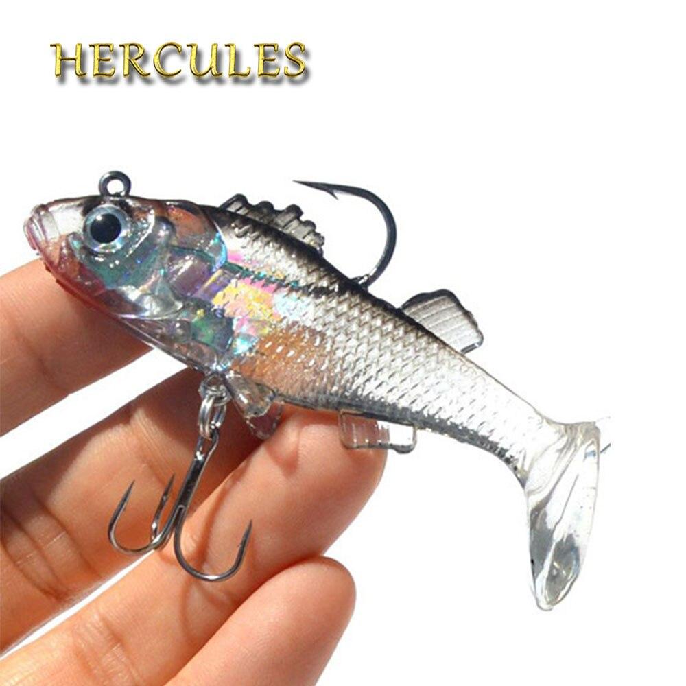 Hercules 1Pcs 3D Eyes Lead Fishing Lures T Tail Soft Fishing Lure Lead hooks Baits Artificial Bait jig Wobblers 15g 80mm