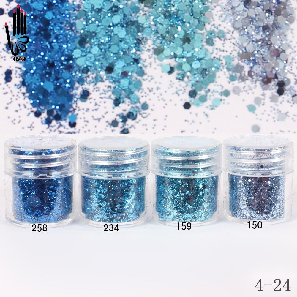 Polvo de uñas 1 tarro/Caja 10ml 3D Nail 4 azul claro brillo de uñas polvo de lentejuelas para Nail Art Glitter 300 colores 4-24