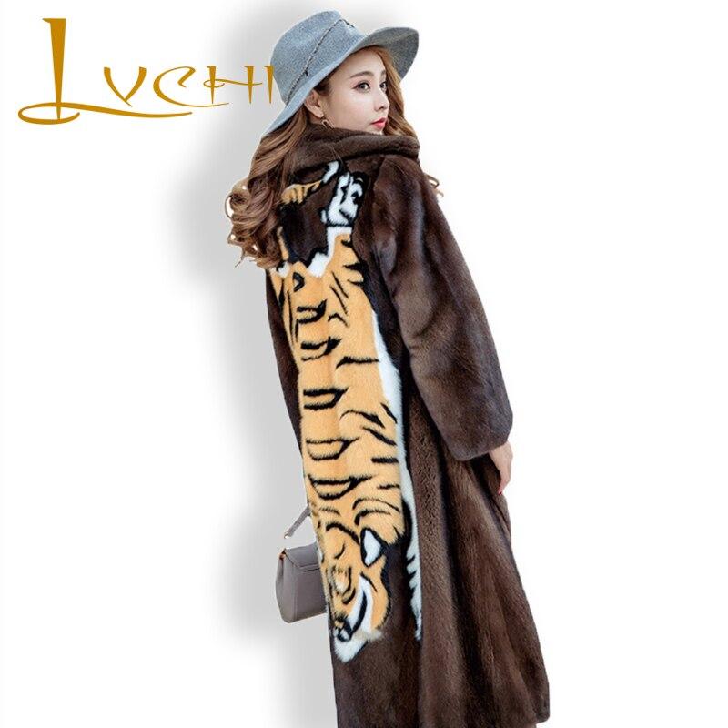 LVCHI Winter Women Coat Collection Grade Russia Imported Velvet Mink Fur Coat Denmark Fashion Young Women Prom Medium Club Coats
