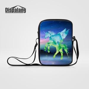 Dispalang Mini Crossbody Bag for Women Cartoon Unicorn Horse Printing Shoulder Bag Casual Female Girl Messenger Bag Bolsos Mujer